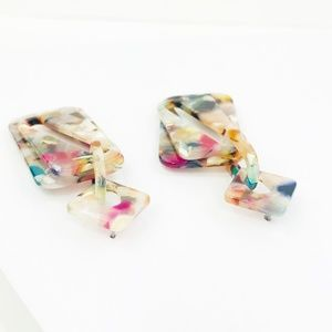Closet Rehab Jewelry - Double Rectangle Drop Earrings in Multicolor